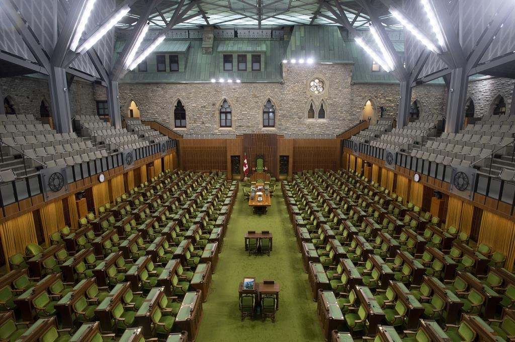 The House of Commons chamber is seen empty, Wednesday April 8, 2020 in Ottawa.