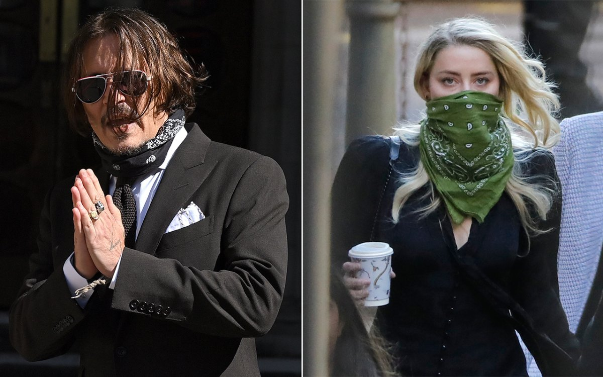Johnny Depp and Amber Heard attend Day 4 of his libel case against the Sun newspaper at the Royal Courts of Justice, Strand on July 10, 2020 in London, England.