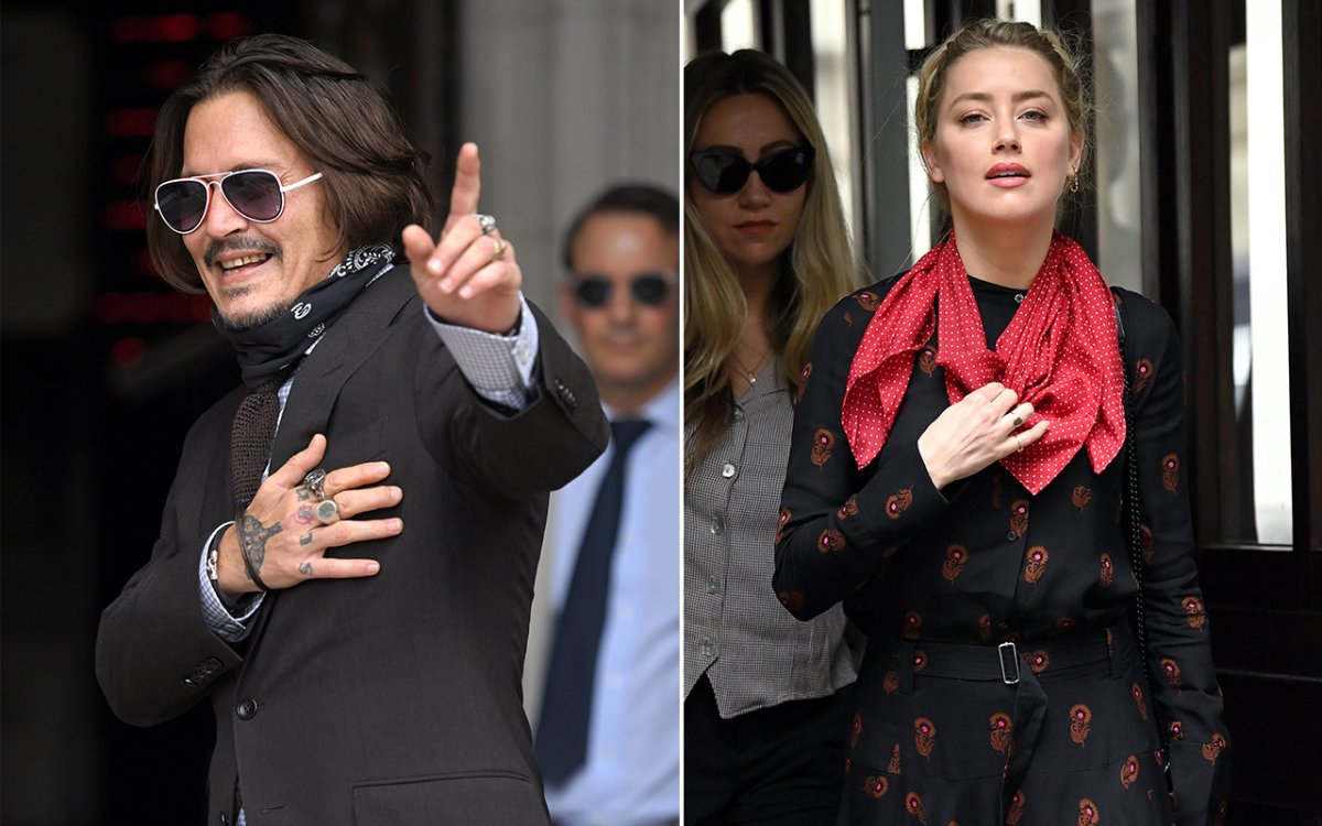 (L-R): Johnny Depp and Amber Heard arrives at the Royal Courts of Justice, Strand on July 15, 2020 in London, England.