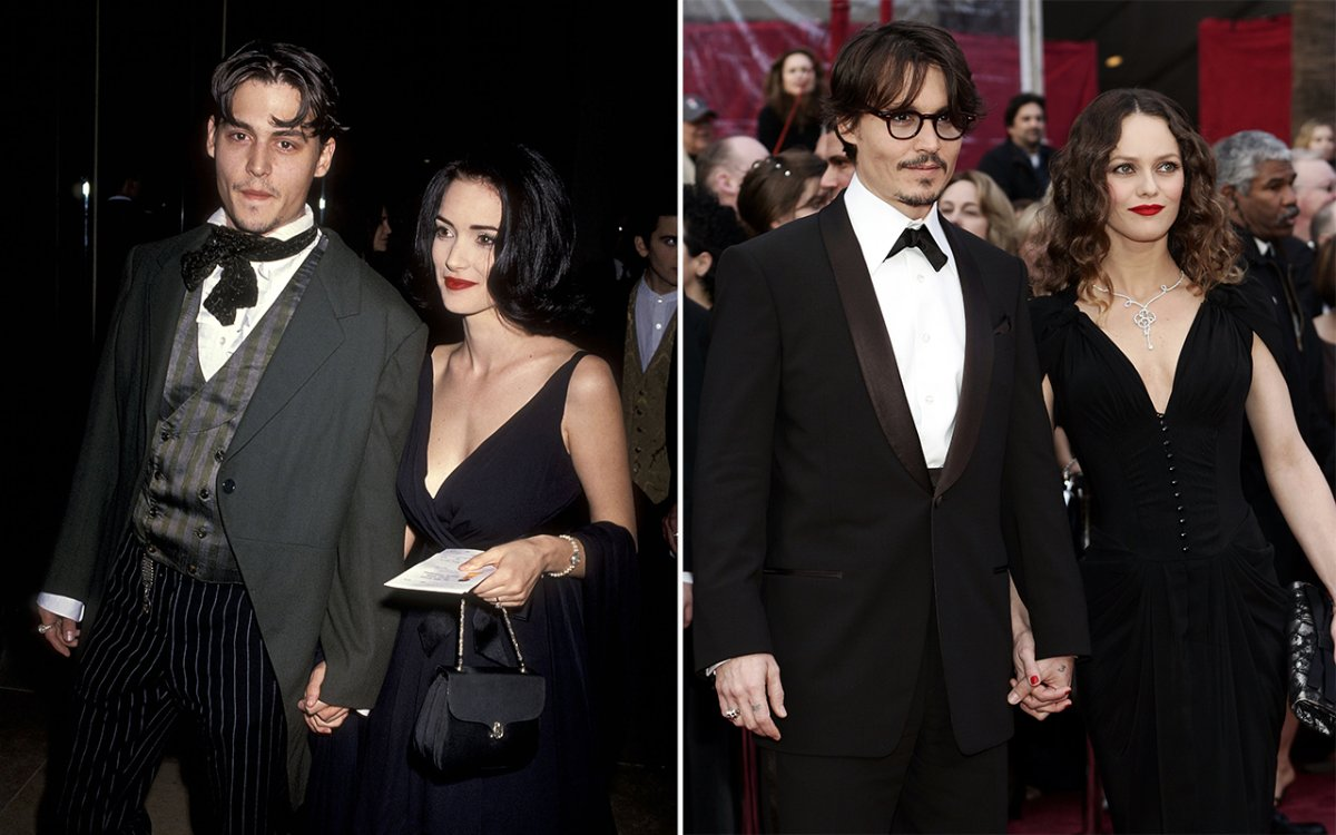 (L-R): Actor Johnny Depp and actress Winona Ryder and Depp and Vanessa Paradis.