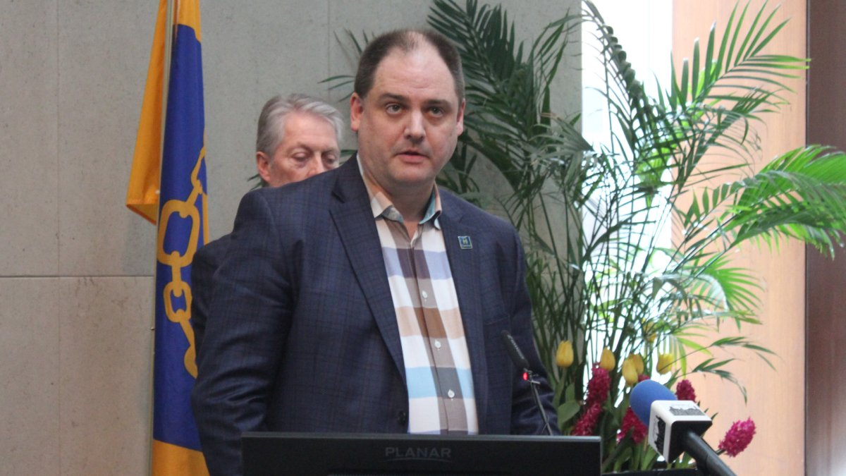 Hamilton's EOC Director Paul Johnson addresses the media during a daily update session at city hall on March 13, 2020.
