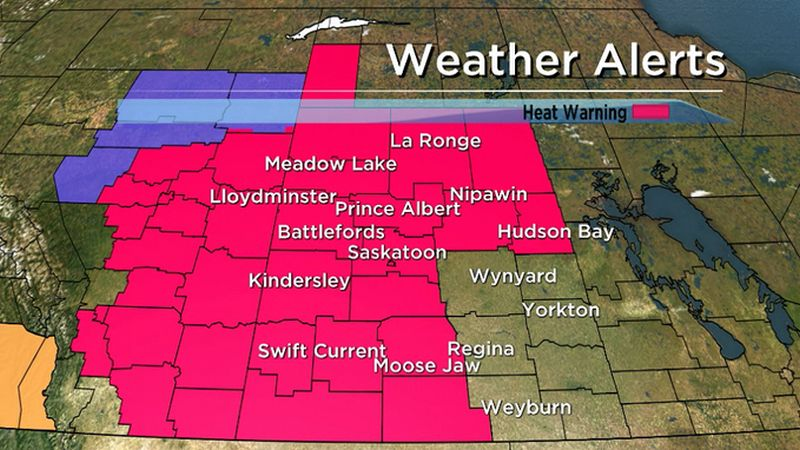 Environment Canada has issued heat warning issued for Saskatoon, Moose Jaw, Outlook and Assiniboia for highs of 32 C or warmer for the next three days.