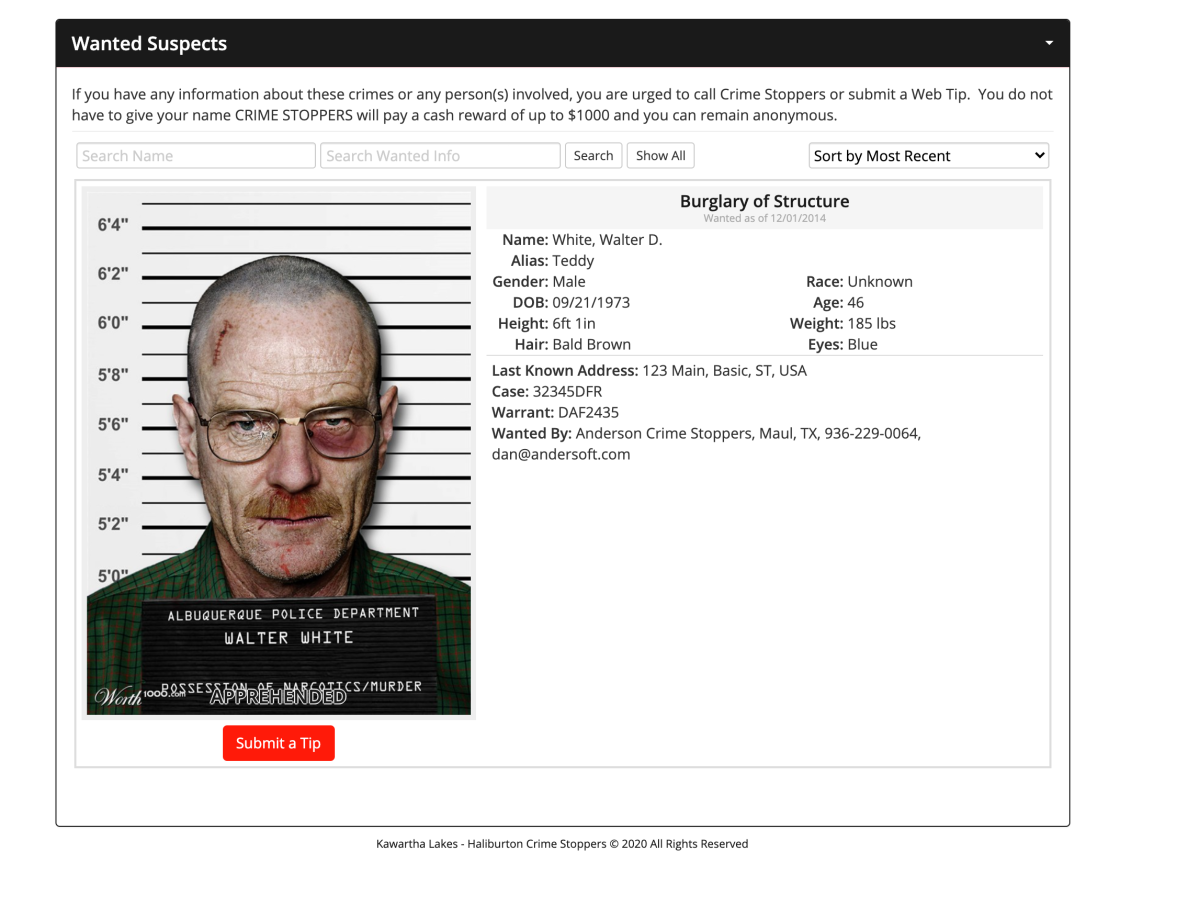 A screen shot of the home page of the Kawartha Lakes-Haliburton Crime Stoppers home page on Thursday, July 15.