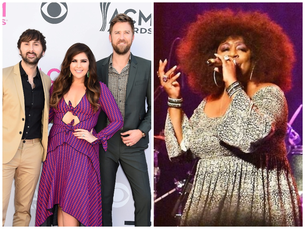 (L-R) Lady A, the band (formerly known as Lady Antebellum): Dave Haywood, Hillary Scott and Charles Kelley, and Lady A (R), the singer, born Anita White.