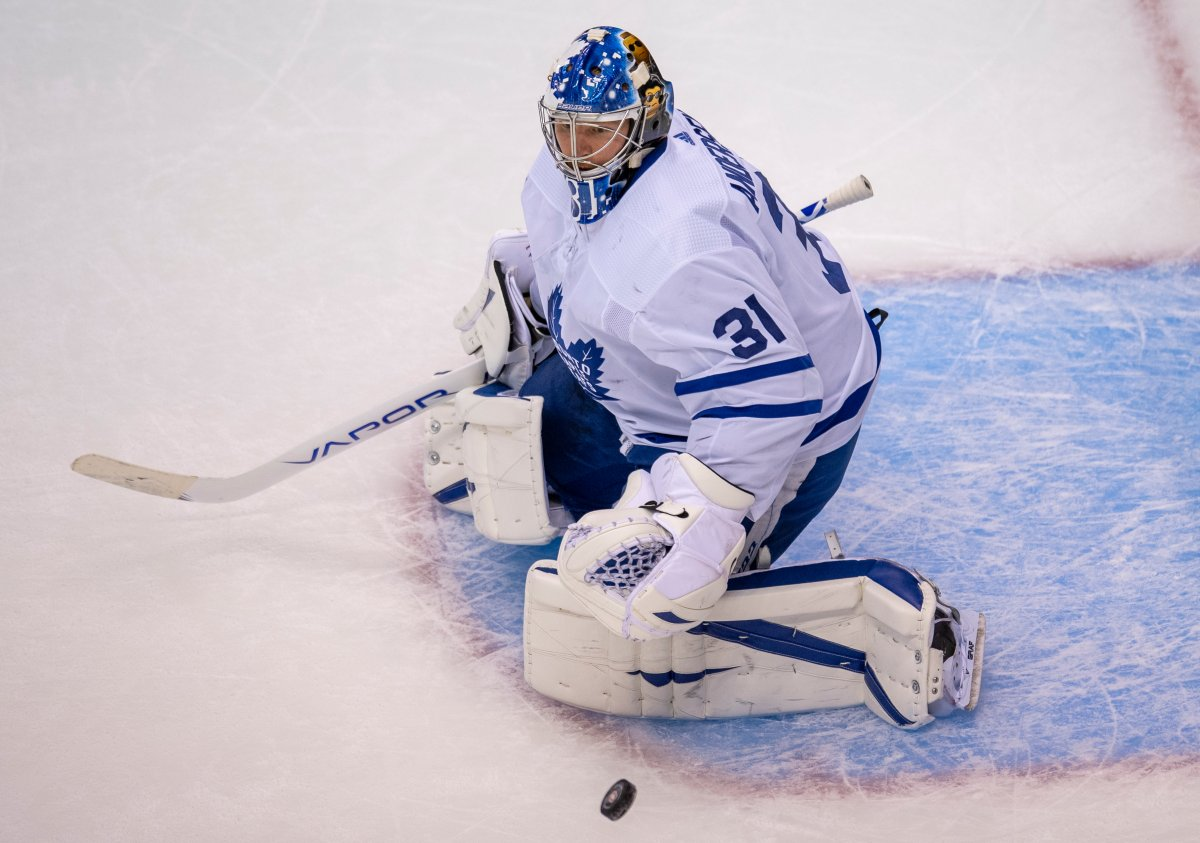 Toronto Maple Leafs goaltender Frederik Andersen (31) makes a save against the Montreal Canadiens during second period NHL exhibition hockey action ahead of the Stanley Cup playoffs in Toronto on Tuesday, July 28, 2020.
