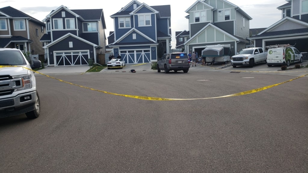 RCMP blocked off an area of Leduc in the Southfork neighbourhood Wednesday night.