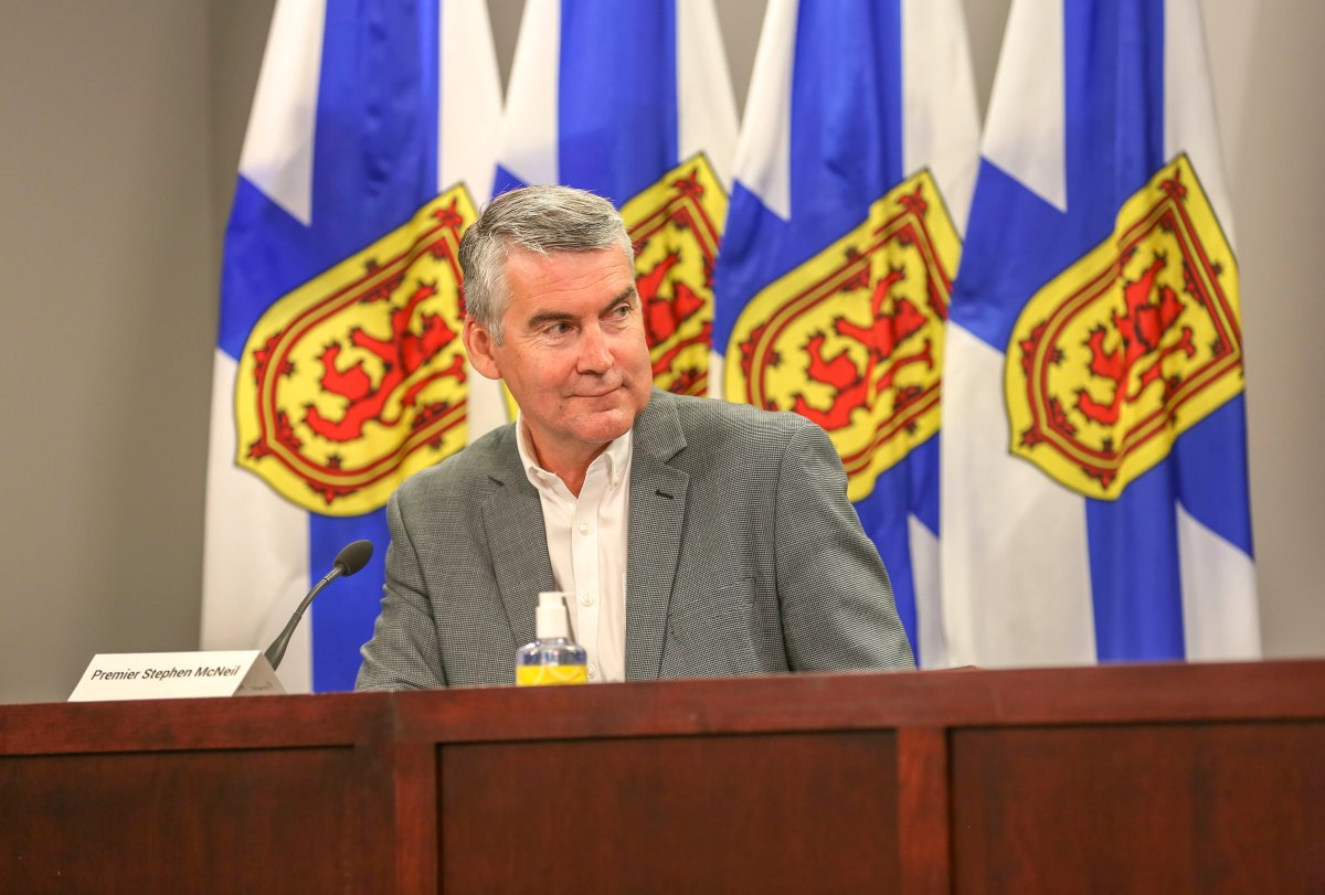Premier Stephen McNeil speaks at an afternoon press briefing in Halifax on Thursday, July 9, 2020.