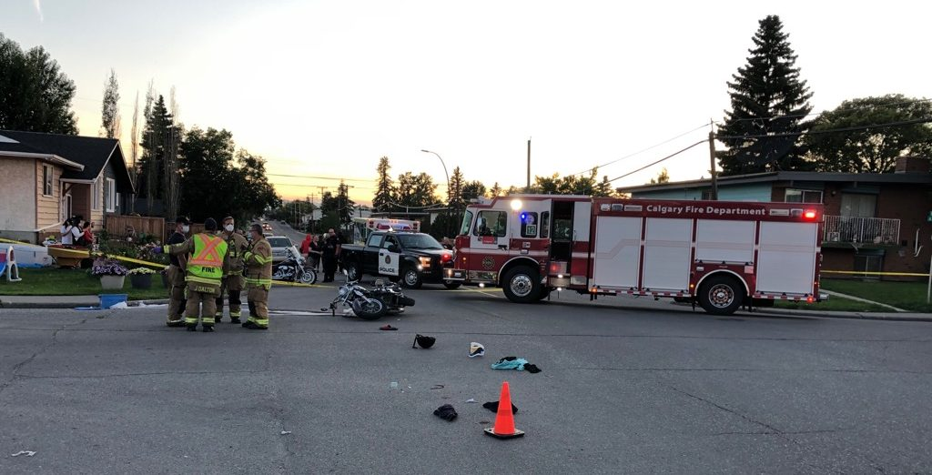 Calgary crews responded to a motorcycle crash on Tuesday, July 14, 2020, that left a father-daughter duo with injuries.
