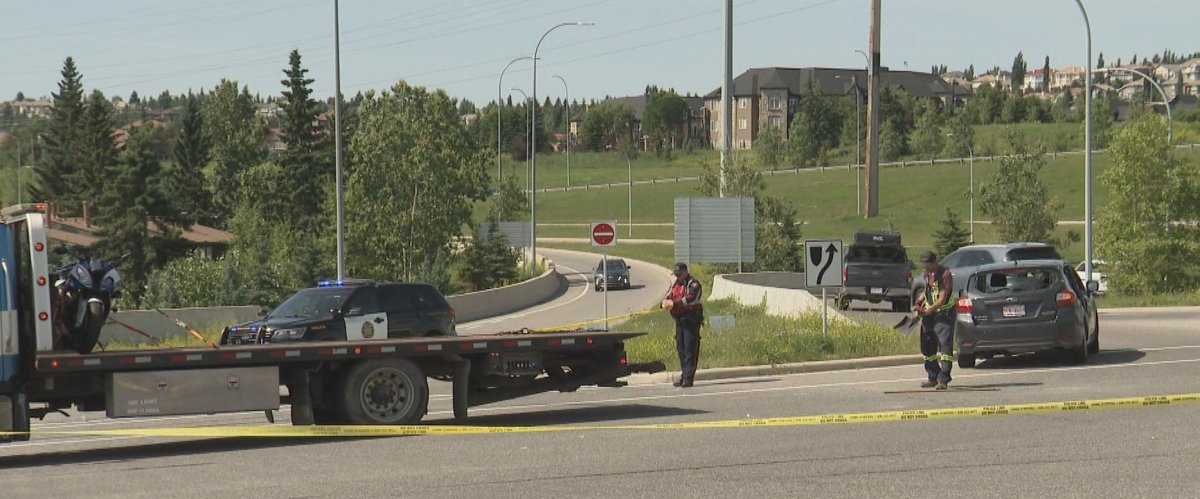 A man was injured in a motorcycle crash in southwest Calgary on Saturday, July 11, 2020.