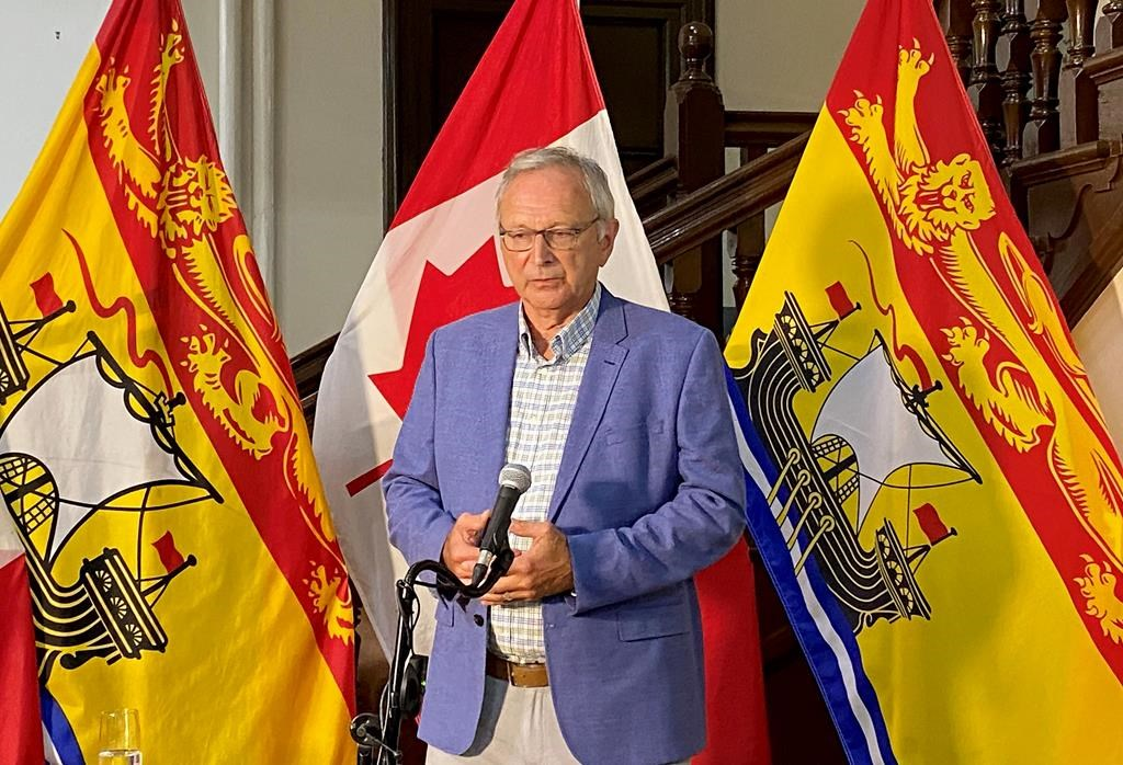 New Brunswick will allow Quebecers who live in two areas near the New Brunswick border to visit the province for day-trips starting Aug 1, if they pre-register. New Brunswick Premier Blaine Higgs speaks to media during a press conference in Fredericton on Thursday, July 30, 2020.