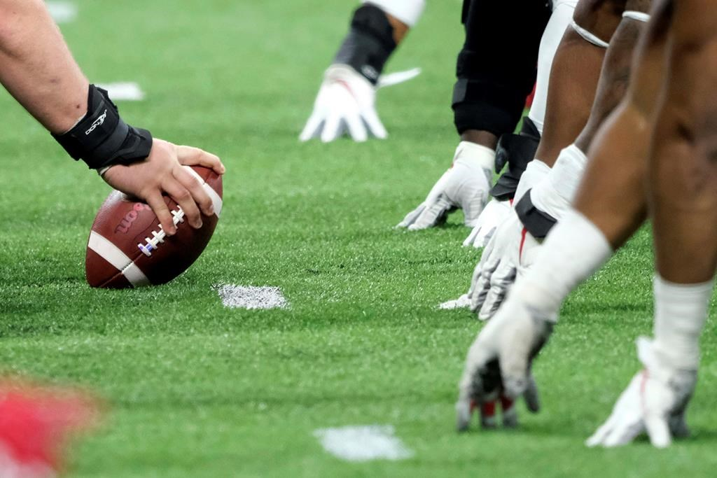 A player prepares to hike the ball at the line of scrimmage during a Big Ten championship NCAA college football game in 2019 (AP Photo/AJ Mast, File).