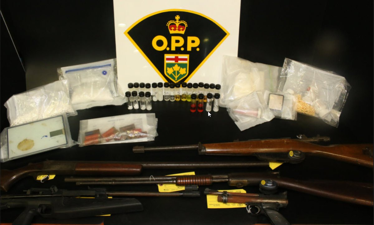 Wellington County OPP say officers seized a number of drugs and guns just outside of Guelph, Ont.