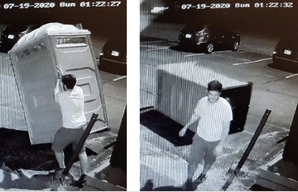 """Kingston police are looking for a man they have dubbed the """"porta potty pusher.""""."""