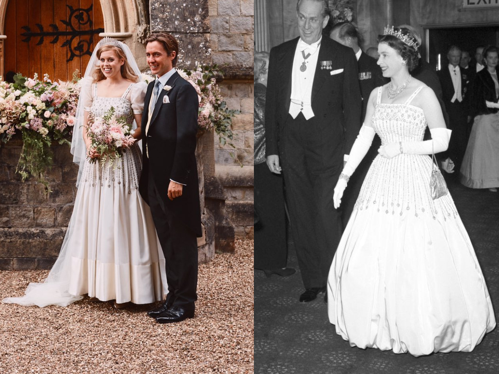 Princess Beatrice wore the Queen's vintage dress, which Her Majesty wore to the 'Lawrence of Arabia' premiere in 1962.