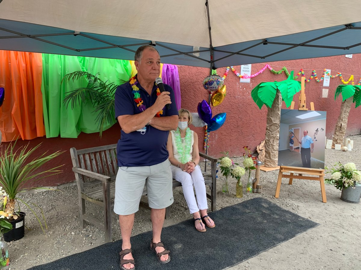 After nearly two decades as the executive director of Kelowna's Gospel Mission, Randy Benson retired on Friday with a Hawaiian-themed send-off.