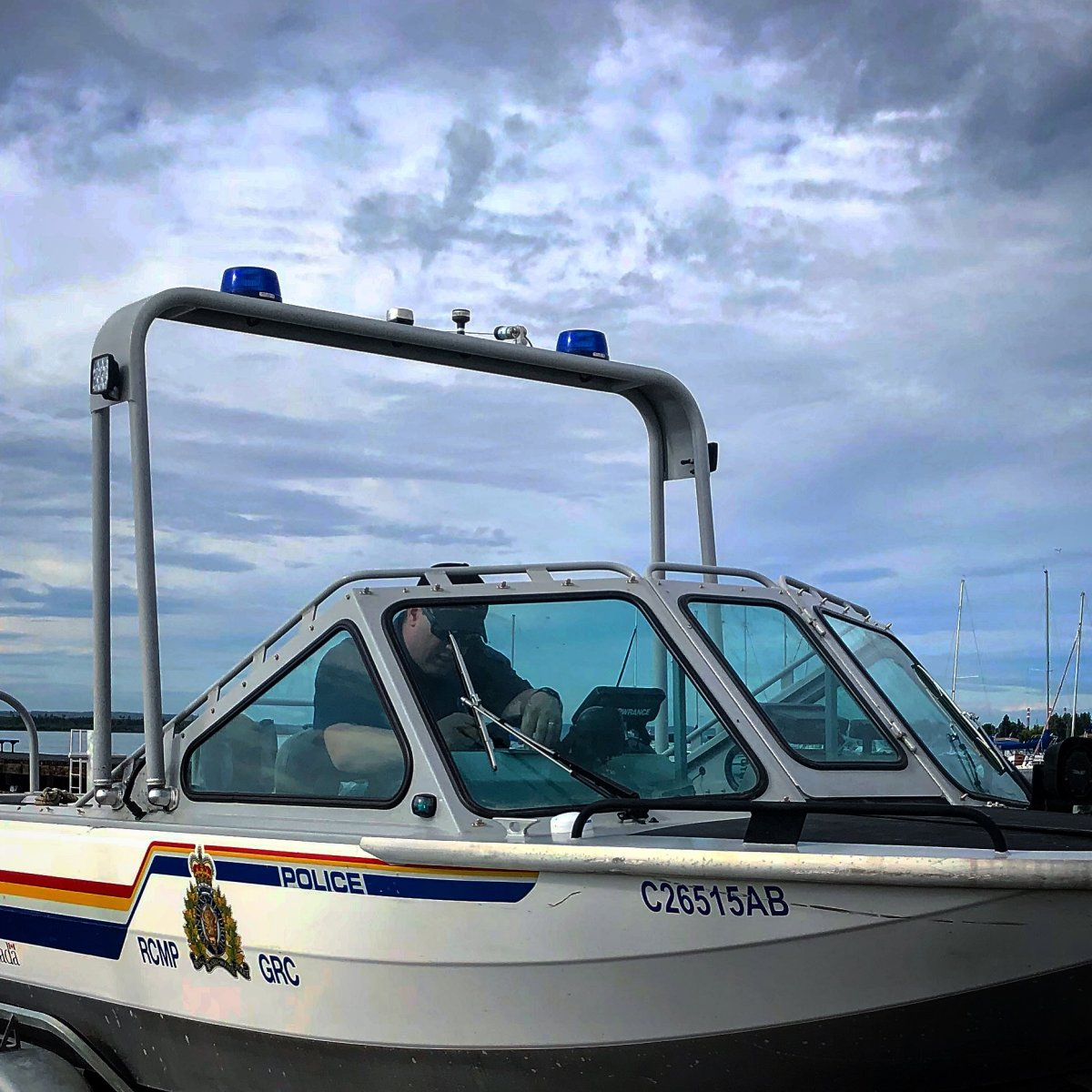 A RCMP officer on patrol in July 2020.