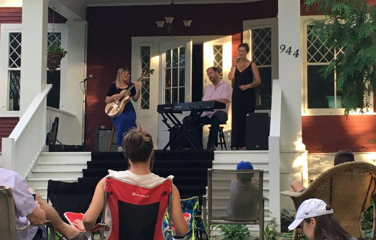Jazz musicians Jocelyn Gould and Will Bonness perform at a Red Haus Live concert along with presenter Zohreh Gervais.