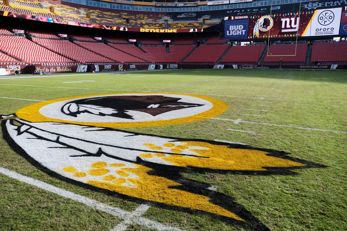 The Washington Redskins logo is seen on FedEx Field prior to an NFL football game between the New York Giants and the Redskins in Landover, Md.