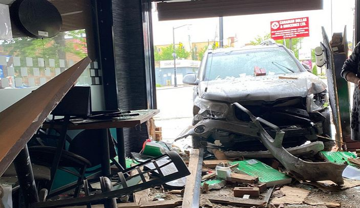 A car crashed into a restaurant in Edmonton on Sunday, July 5, 2020.