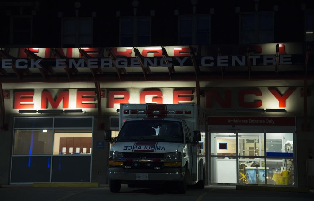 The emergency department entrance to St. Paul's Hospital is shown in downtown Vancouver, B.C. Thursday, March 19, 2020. THE CANADIAN PRESS/Jonathan Hayward.