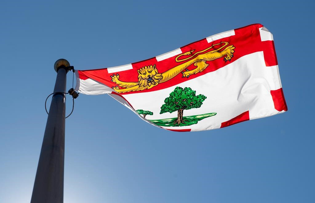 Prince Edward Island's provincial flag flies on a flag pole in Ottawa, Monday, July 6, 2020.