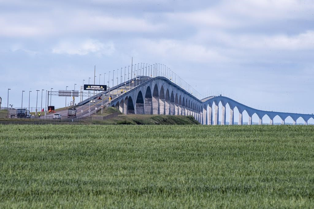 Motorists line up to cross the Confederation Bridge back in 2020.