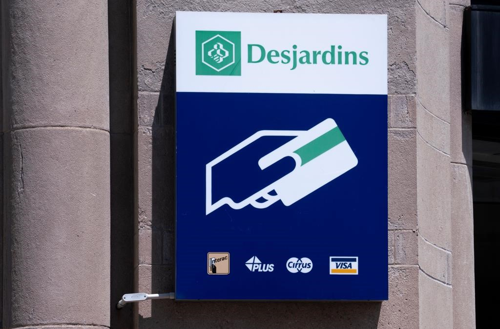 A Caisse populaire Desjardins sign is seen in Montreal on Tuesday, June 18, 2019.