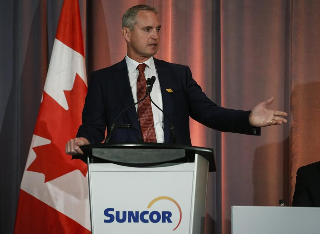 Suncor president and CEO Mark Little addresses the company's annual meeting in Calgary, Thursday, May 2, 2019.