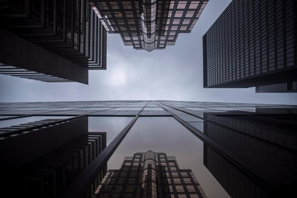 Bank buildings are photographed in Toronto's financial district on June 27, 2018.