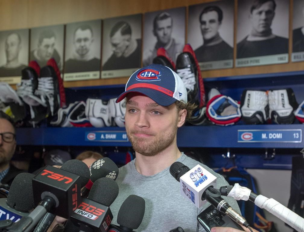 Montreal Canadiens centre Max Domi speaks to the media at the team's end of season availability, Tuesday, April 9, 2019 in Brossard, Que.