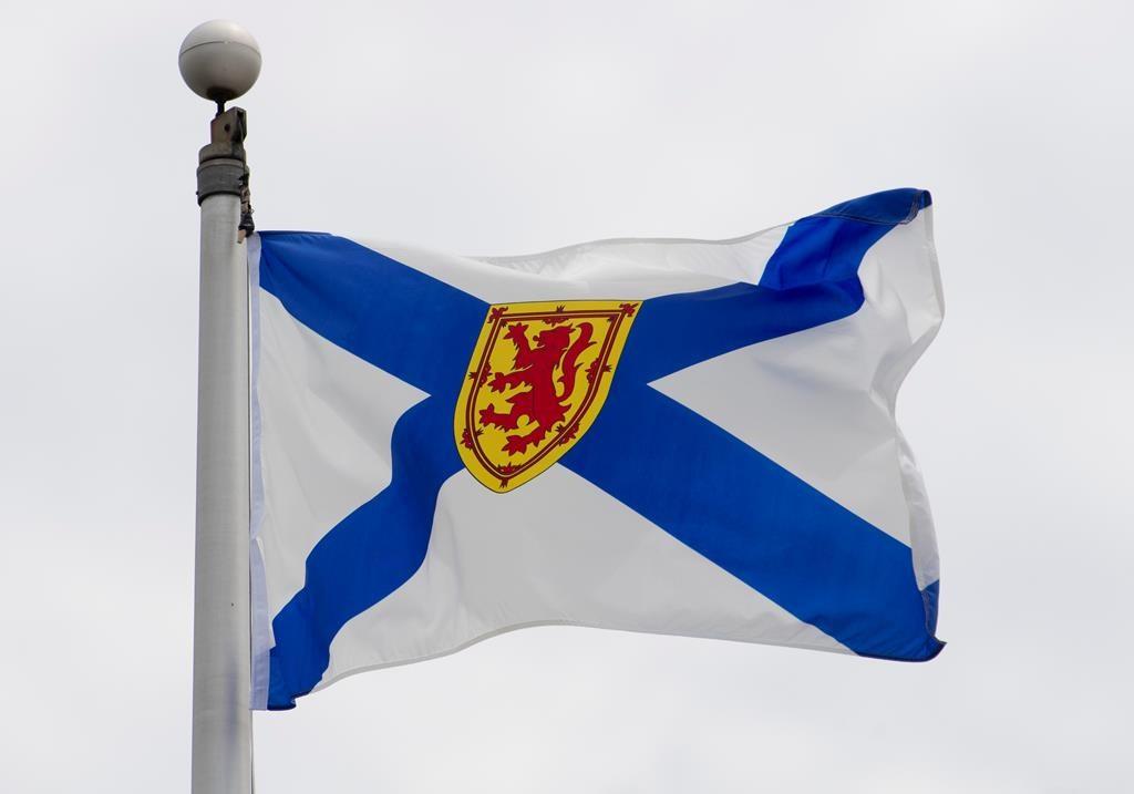 Nova Scotia's provincial flag flies on a flag pole in Ottawa, Friday July 3, 2020.