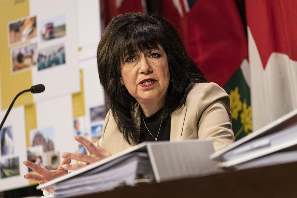 Ontario Auditor General Bonnie Lysyk speaks during a press conference at Queens Park after the release of her 2019 annual report.
