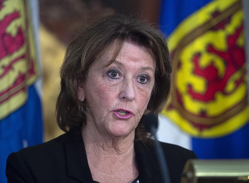 Finance Minister Karen Casey briefs reporters on the Nova Scotia provincial budget for 2020-2021 at the legislature in Halifax on Tuesday, Feb. 25, 2020.