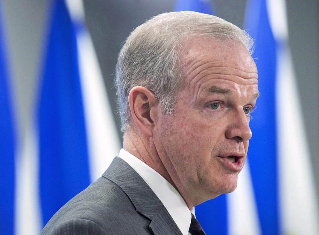 Nova Scotia Justice Minister Mark Furey fields question as he holds a briefing in Halifax on Tuesday, April 3, 2018.