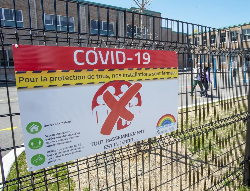 An elementary school in Montreal North is seen, Thursday, May 14, 2020 in Montreal.