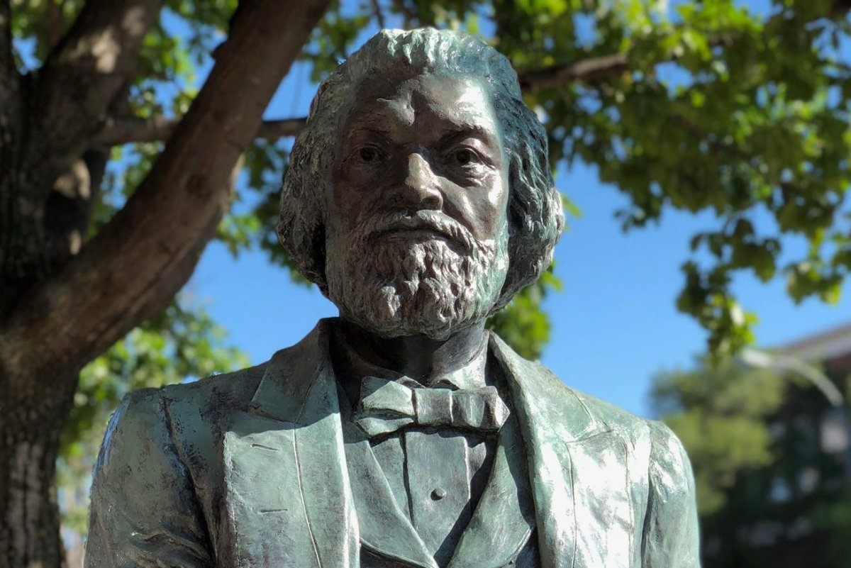 One of 13 statues of Frederick Douglass, sculpted by artist Olivia Kim, is shown in Rochester, N.Y., in this 2018 file photo.