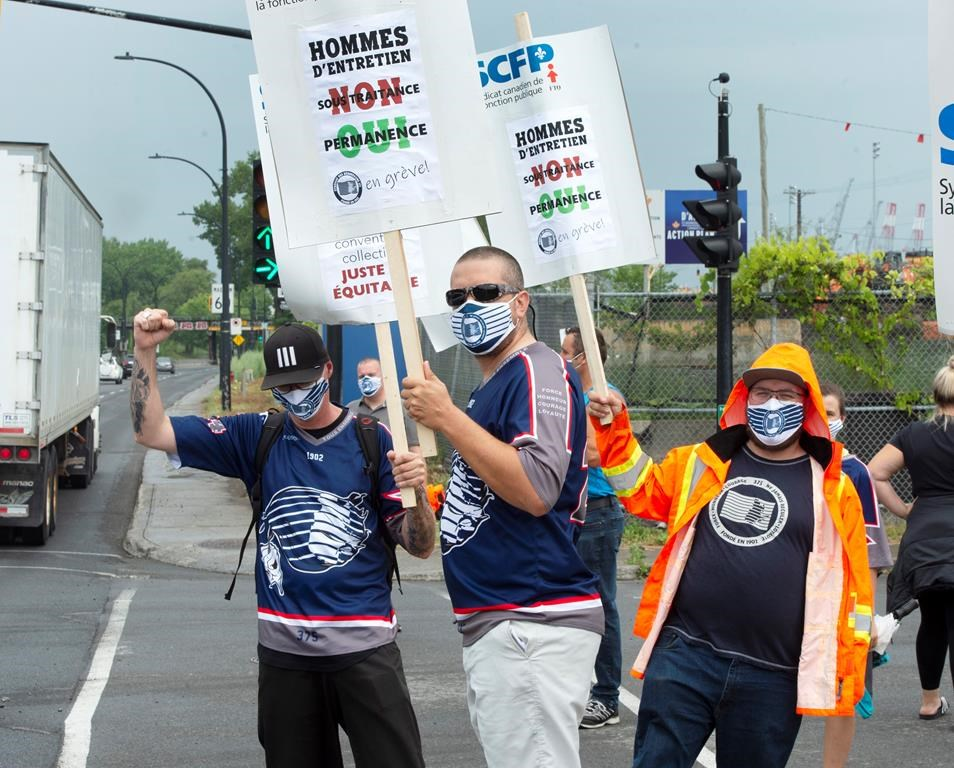 Striking Port of Montreal workers had a four-day walkout Monday, July 27, 2020 in Montreal. The workers have been without a contract for over two years.