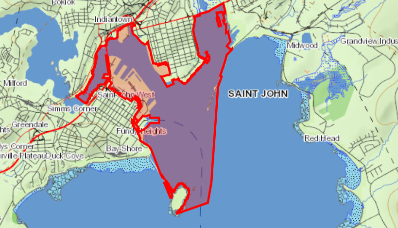 The parcel of land that is central to the dispute between the province of New Brunswick and the Saint John Port Authority.