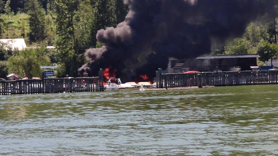 Salmon Arm police and the fire department say early indicators from Monday's blaze indicate that a boat being refuelled sparked the incident, with police noting there was no criminal intent.