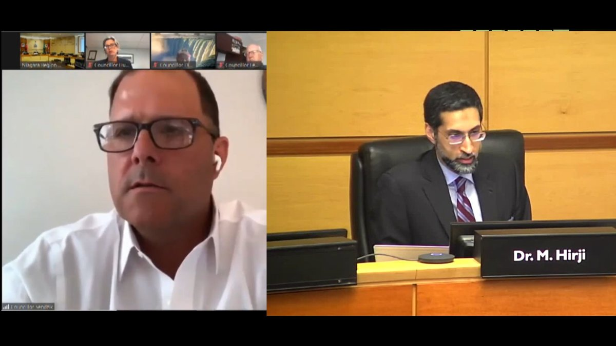 St. Catharines mayor Walter Sendzik poses questions to Niagara Region's medical officer of health Dr. Mustafa Hirji during a special virtual council meeting in Niagara region on July 8, 2020.