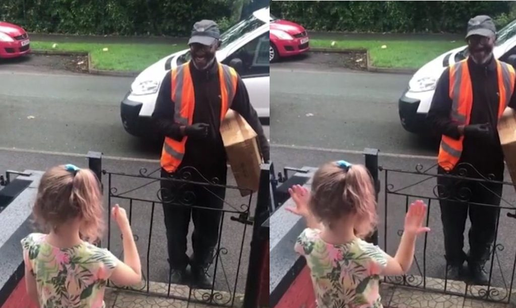 Amy Roberts daughter learned sign language so she could greet their deaf delivery man, Tim Joseph.