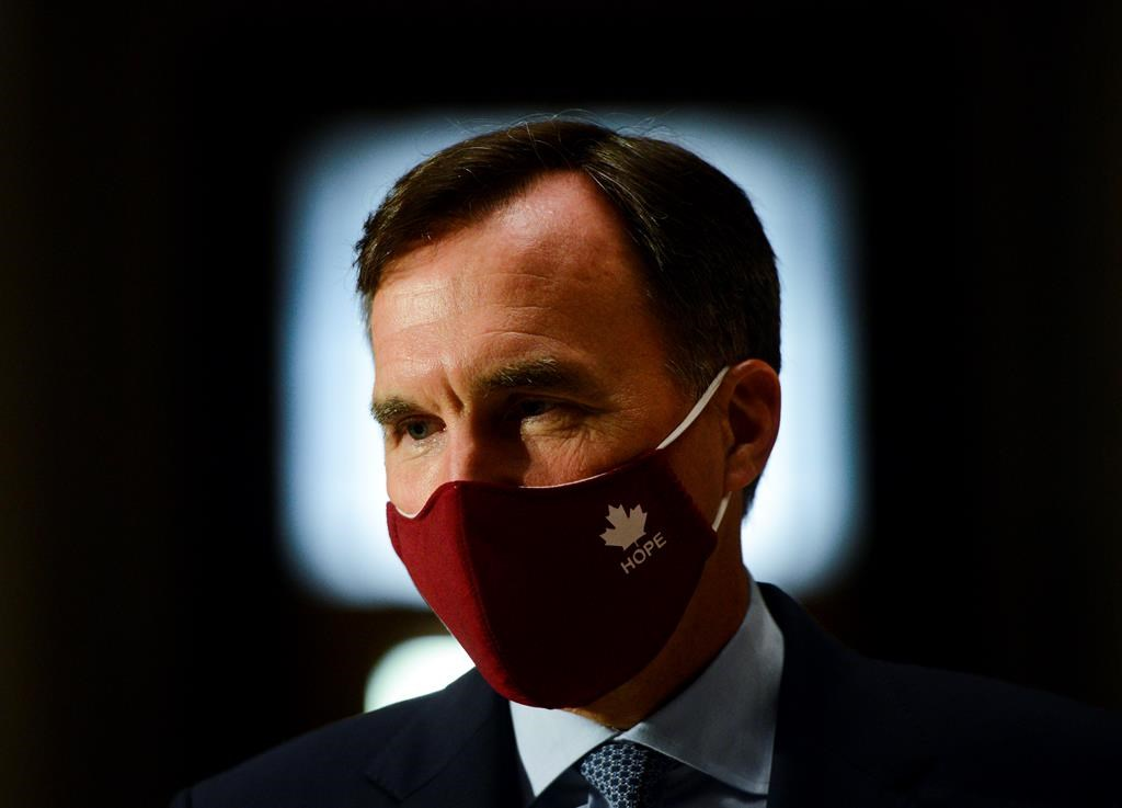Minister of Finance Bill Morneau takes part in a media lock-up for the federal government's Economic and Fiscal Snapshot 2020 in Ottawa on Wednesday, July 8, 2020.