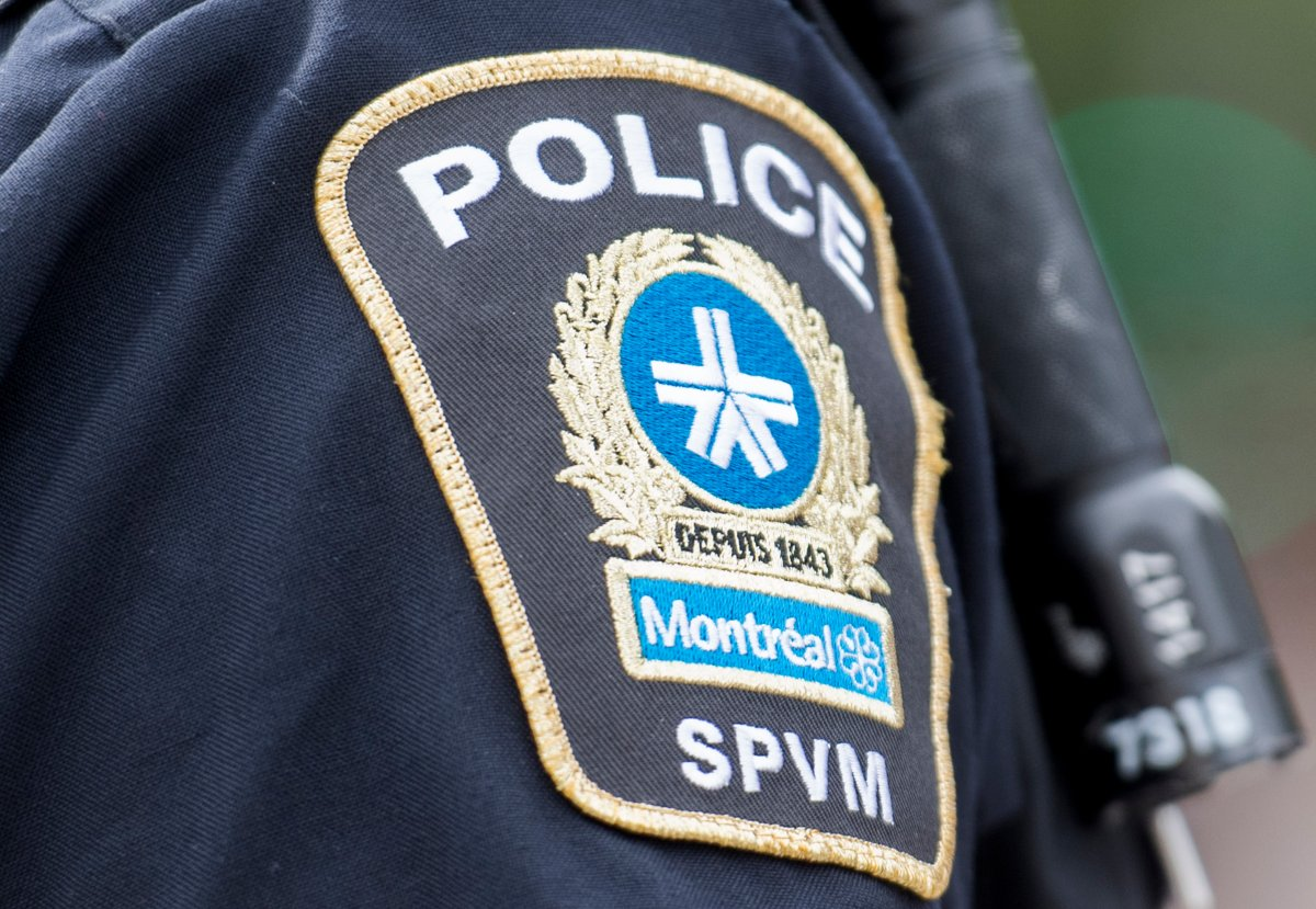 A Montreal police badge is shown during a police intervention in Montreal, Sunday, July 12, 2020.