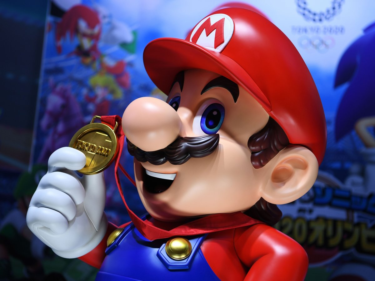 Character of Nintendo franchise Mario is seen at a promotional booth for the video game 'Mario & Sonic at the Olympic Games Tokyo 2020' during the Tokyo Game Show in Makuhari, Chiba Prefecture, on Sept. 12, 2019.