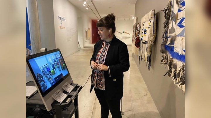Tarah Hogue giving a virtual tour at the Vancouver Art Gallery.