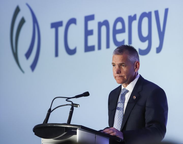 Russ Girling addresses the company's annual meeting after shareholders approved a name change to TC Energy in Calgary, Friday, May 3, 2019.
