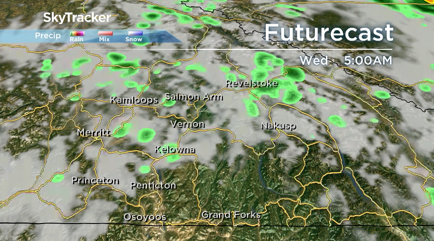 There is a slight chance of showers early Wednesday before sunny breaks return later on.