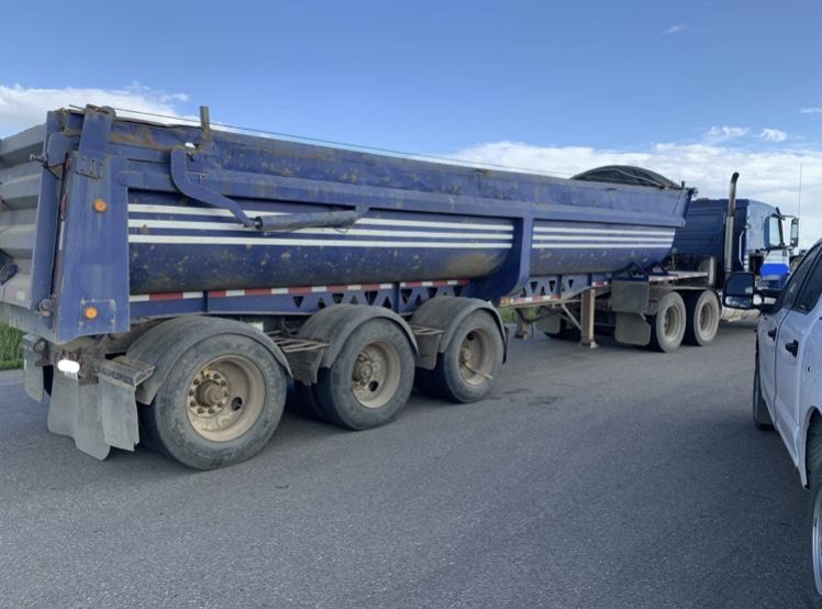 Alberta sheriffs stopped trucks crossing Vinca bridge, on Highway 38, after complaints of trucks carrying heavy loads.