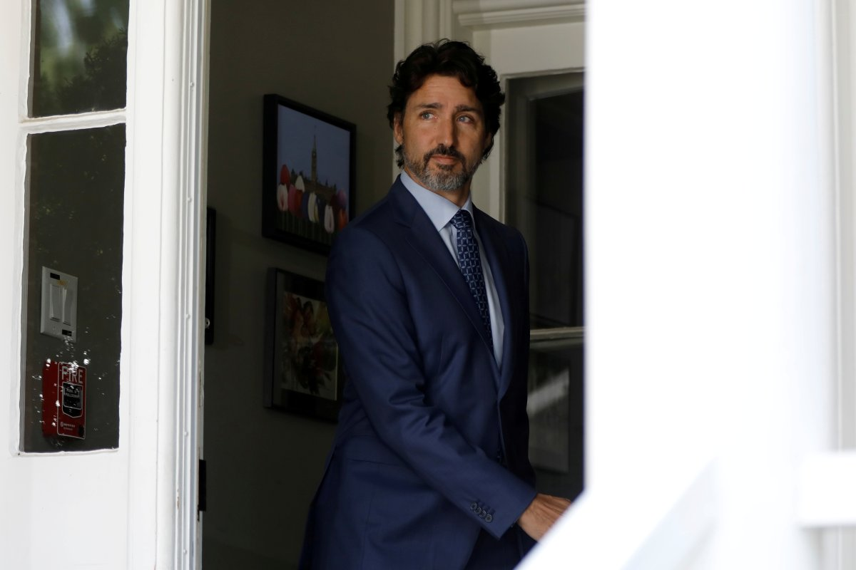 Prime Minister Justin Trudeau arrives for a news conference at Rideau Cottage as efforts continue to help slow the spread of COVID-19 in Ottawa on June 22, 2020.