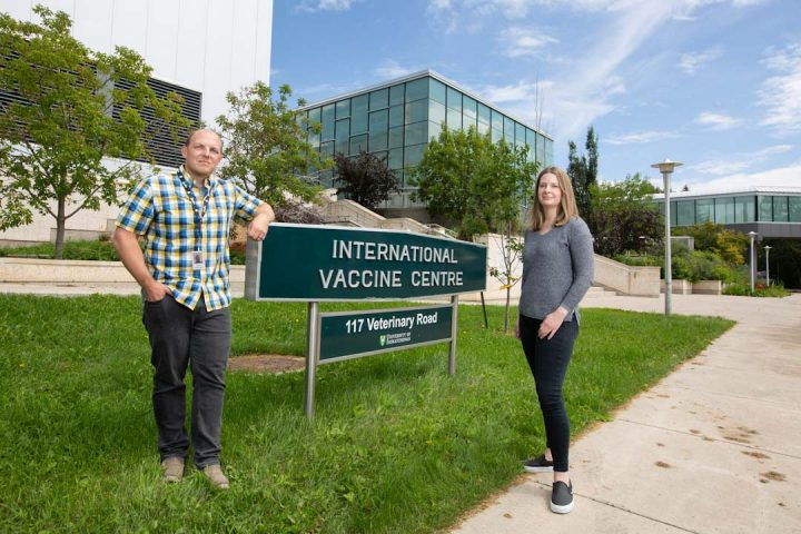 Visiting scientists Jason Kindrachuk and Alyson Kelvin at VIDO-InterVac.